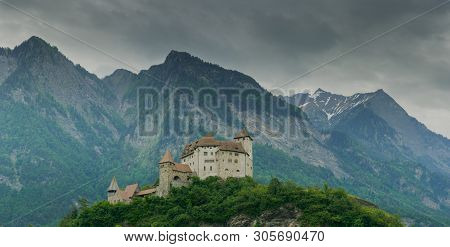 Balzers, Fl / Liechtenstein - 9 June 2019: Horizontal View Of The Historic Gutenberg Castle In The V