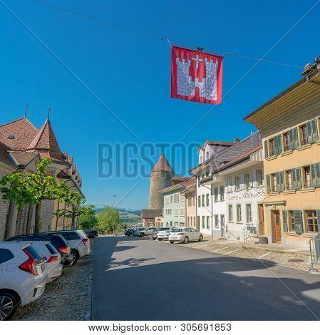 Romont, Fr / Switzerland - 1 June 2019: Historic City Center Of The Medieval Swiss Village Of Romont