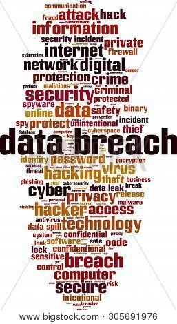 Data Breach Word Cloud Concept. Collage Made Of Words About Data Breach. Vector Illustration