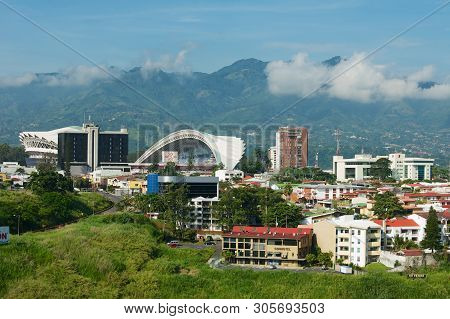 San Jose, Costa Rica - June 18, 2012: View To The National Stadium And Residential Buildings With Mo