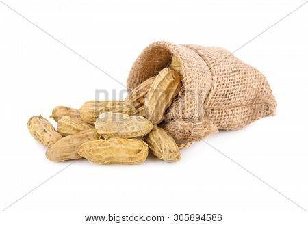 Boiled Ground Peanut In Sack And On White Background