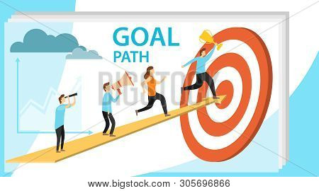 Path To Goal, Goal Achievement, Motivation For Success. People Run Up The Arrow To The Goal. Vector