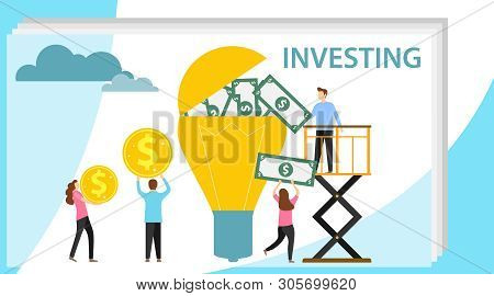 poster of Investing in an idea. A group of people investing money in a lamp. Cash investment. Vector illustration