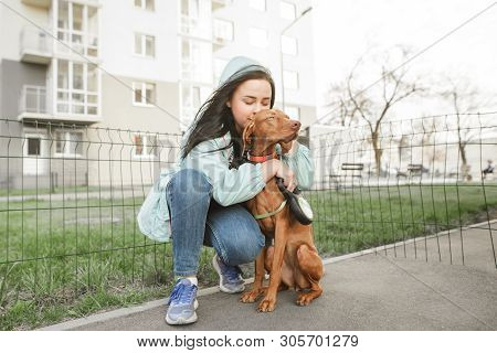 Female Owner Hugs A Dog Against The Backdrop Of A City Fund. Girl Loves Her Dog And Hugs Her For A W