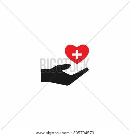 Hand Holding Red Heart On White Background. Charity, Philanthropy, Giving Help,