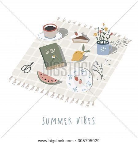 Hand Drawn Summer Picnic Background, Invitation. Checkered Plaid, Blanket With Cup Of Coffee, Lemon,