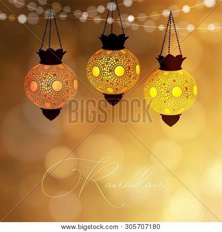 Hanging Decorative Lanterns Glowing At Night. Strings Of Bokeh Lights. Greeting Card, Invitation For