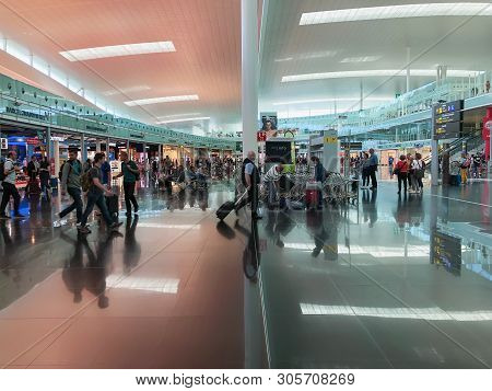 Barcelona, Spain - June 08, 2019. El Prat Josep Tarradellas Airport. Public Area, Terminal T1. Walki