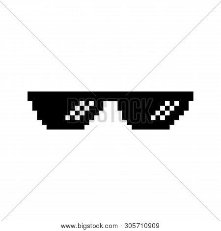 Creative Illustration Of Pixel Glasses Of Thug Life Meme Isolated On Background. Ghetto Lifestyle Cu