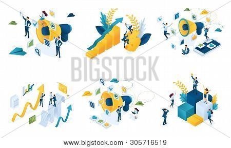 Isometric Set Of Concepts On The Topic Of Digital Marketing, Business Marketing, Teamwork, Success.