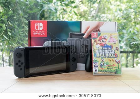 Bangkok, Thailand - June 10, 2019 : Nintendo Switch, Video Game Console For Home Or Portable Gaming
