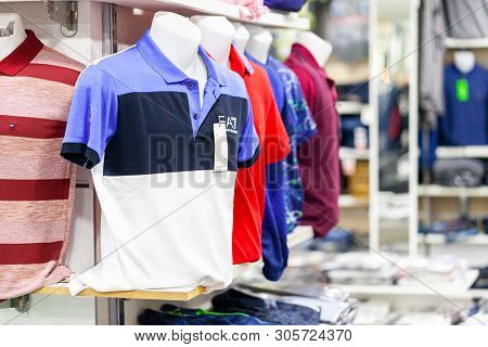 Alanya / Turkey - June 1, 2019: Clothes Emporio Armani Weared By A Puppet In A Clothing Store In Ala
