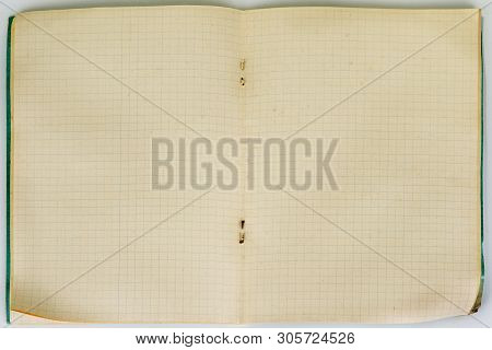 Vintage Open Notebook With Square Pages. Graf Notepad.