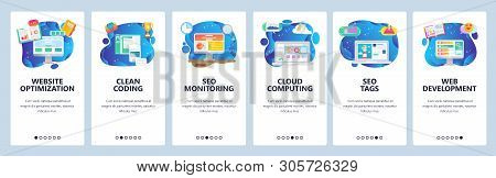 Mobile App Onboarding Screens. Web And Seo Optimization, Cloud Computing, Software Development. Menu