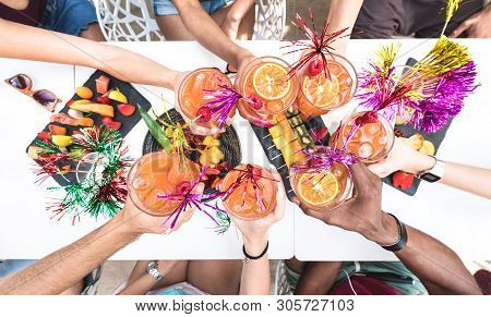 Friends Hands Toasting