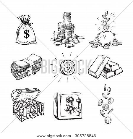 Sketch Style Finance Money Set. Sack Of Dollars, Stack Of Coins, Coin With Dollar Sign, Treasure Che