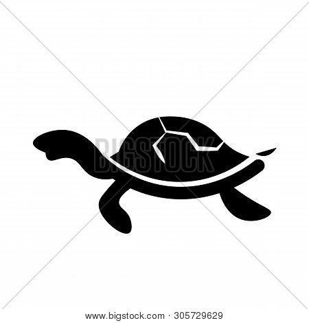 This Vector Image Shows An Turtle Icon In Glyph Style. It Is Isolated On A White Background.