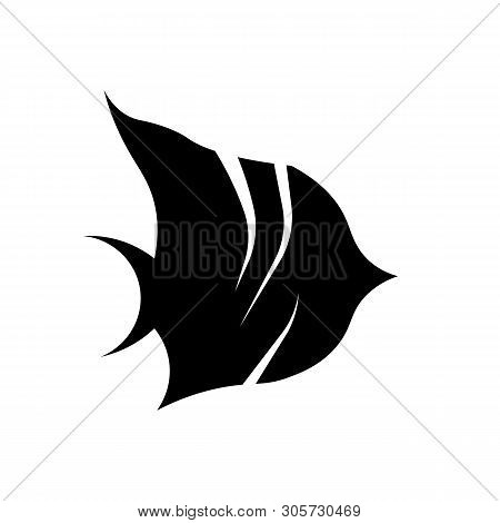 This Vector Image Shows A Butterflyfish Icon In Glyph Style. It Is Isolated On A White Background.