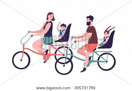 Happy Family Riding Tandem Bicycles Or Bicycling. Cute Smiling Mother, Father And Children On Bikes.