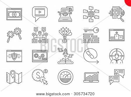 Seo Line Icons Set. Seo Related Vector Line Icons. Website And App Design And Development. Simple Mo