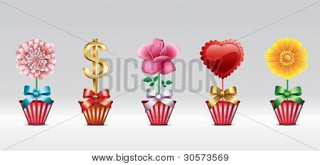 Greeting icon set with heart and flower