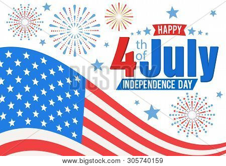 American Independence Day, Festive Banner With American Flag And Fireworks. Vector