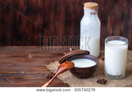 Homemade Yogurt In A Cup, A Glass Of Kefir With Probiotics Probiotic Cold Fermented Dairy Drink Tren