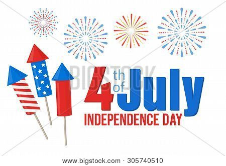 American Independence Day, Festive Banner With American Flags And Fireworks, 4th Of July. Vector