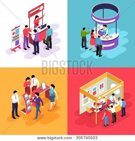 Isometric Expo Design Concept With Images Of Exhibit Stands And People Characters Looking Into Exhib