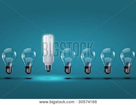 Row of electric bulbs