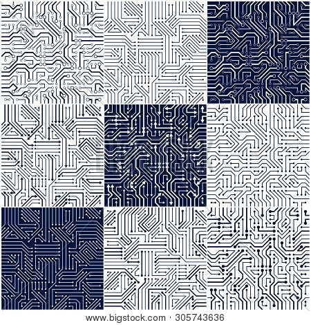 Circuit Board Seamless Patterns Set, Vector Backgrounds Collection. Microchip Technology Electronics