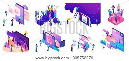 Isometric Bright Concepts With Teenagers Or Young Entrepreneurs To Create Websites And Develop Mobil