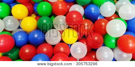 Color Balls. Bright Colors Background. Ball Color For Child. Hild Room. Colored Plastic Toy Balls Of
