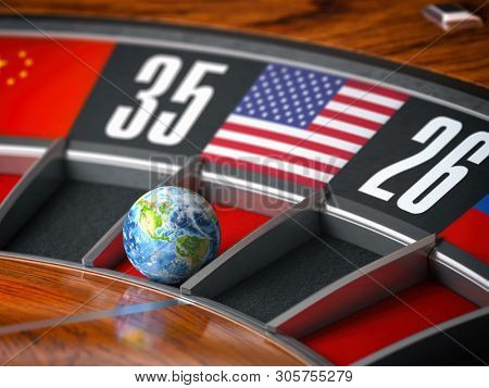 Earth as a ball of casino roulette with american USA flag in winning number. Time of world leadership of USA and winning in world trade war concept, 3d illustration