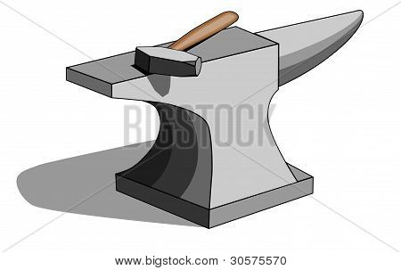 Blacksmith anvil and hammer