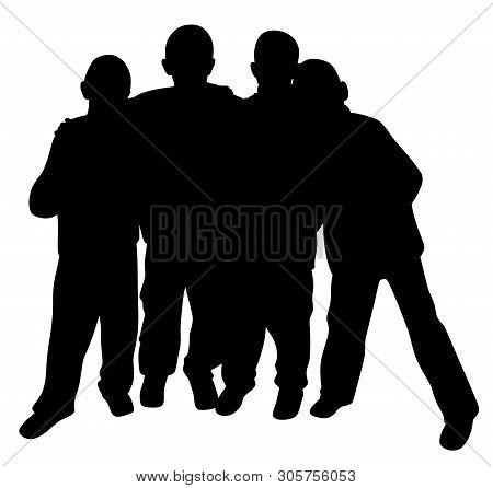 Group Of Best Friends Kids Standing Huddled Together