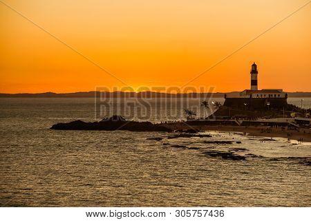 Salvador, Brazil: Portrait Of The Farol Da Barra Salvador Brazil Lighthouse. Beautiful Landscape Wit