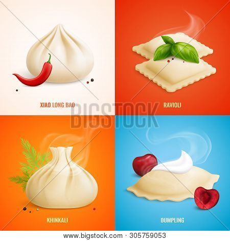 Four Squares Dumplings Ravioli Manti Icon Set With Xiao Long Bao Ravioli Khinkali Dumpling Descripti