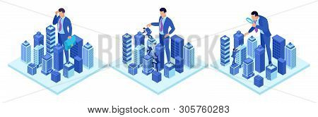 Isometric Concepts Of A Big Businessman Running A City. For Website And Mobile Application Design.
