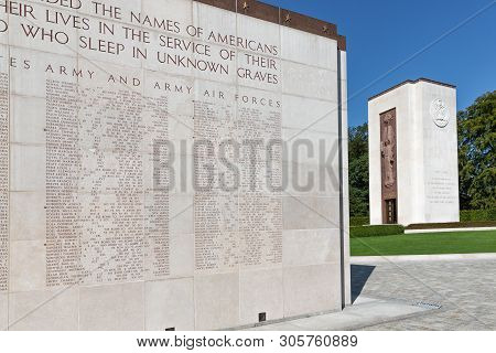 Hamm Near Luxembourg City, Luxembourg - August 22, 2018: Memorial Monument At American Ww2 Cemetery