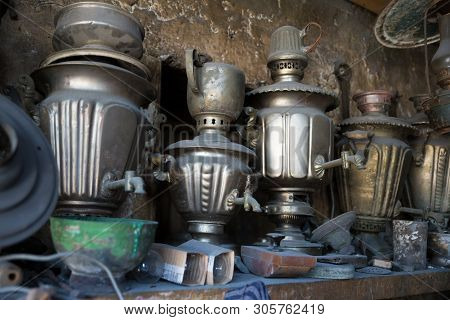 Coppersmith Workshop And Hand Made Copper Things, Lahich, Azerbaijan. Interior Of Coppersmith Worksh