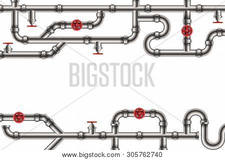 Creative Illustration Of Industrial Oil, Water, Gas Pipe System And Ware Pipeline Fittings, Valves O