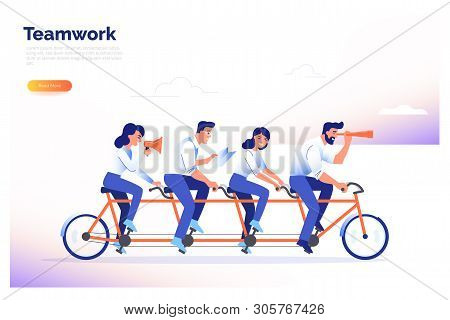A Team Of Four Business People Riding A Bike. Partners Work Together To Achieve Common Goals. Teamwo