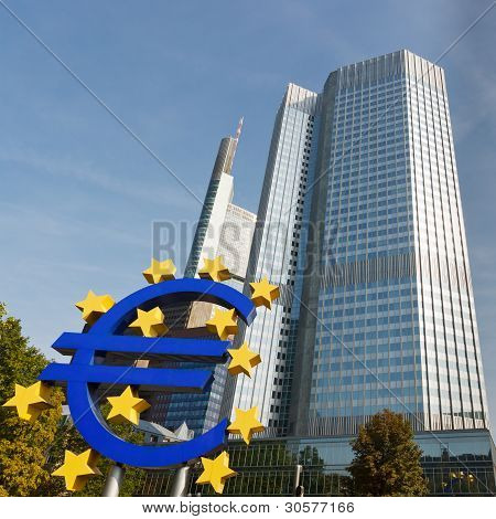 Euro Symbol At The European Central Bank, Frankfurt