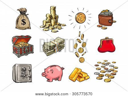Cartoon Finance Money Set. Sack Of Dollars, Stack Of Coins, Coin With Dollar Sign, Treasure Chest, S