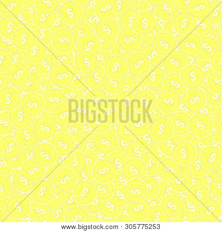 American dollar gold coins seamless pattern. Fetching scattered yellow USD coins. Success concept. USA money pattern. Coin vector illustration. poster