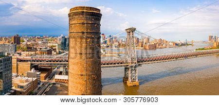 New York, Usa. April 10, 2019. Aerial Close Up View Of The George Washington Bridge At Sunrise In Fo