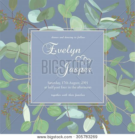 Greeting Festive Flyer, Holiday Card, Vector. Elegant Floral, Greenery, Collection Design. Bouquet O