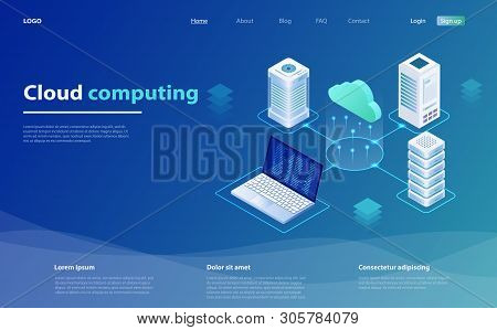 Cloud Computing Concept. Cloud Computing Technology Users Network Configuration Isometric Advertisem