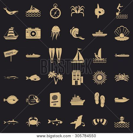 Ocean Floor Icons Set. Simple Set Of 36 Ocean Floor Vector Icons For Web For Any Design